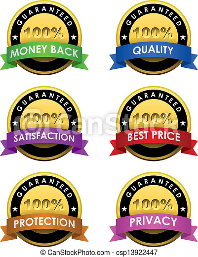 100% guaranteed labels set isolated on white.  - csp13922447