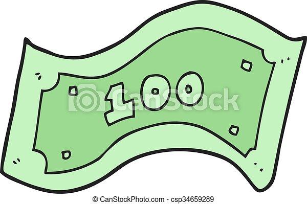 100, halabarda, dolar, rysunek - csp34659289