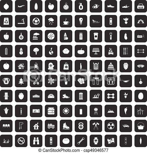 100 healthy lifestyle icons set black - csp49346577
