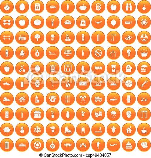 100 healthy lifestyle icons set orange - csp49434057