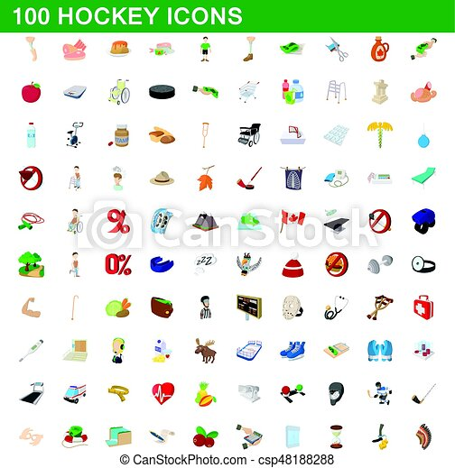 100 hockey icons set, cartoon style - csp48188288