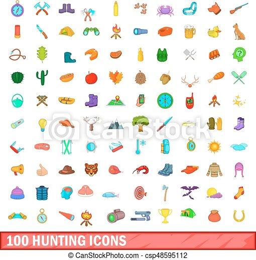 100 hunting icons set, cartoon style - csp48595112