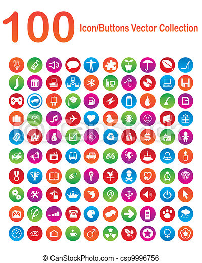 100 Icon-Buttons Vector Collection - csp9996756