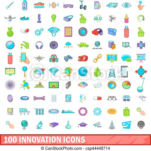 100 icons set, cartoon style - csp44448714