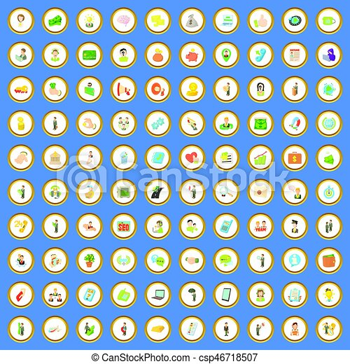 100 job contract icons set cartoon vector - csp46718507