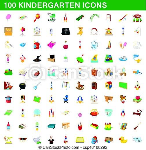 100 kindergarten icons set, cartoon style - csp48188292