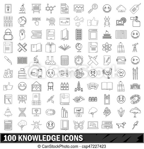 100 knowledge icons set, outline style - csp47227423