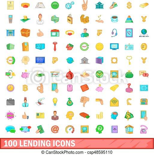 100 lending icons set, cartoon style - csp48595110