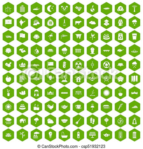 100 lotus icons hexagon green - csp51932123