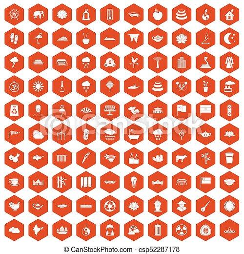 100 lotus icons hexagon orange - csp52287178