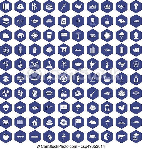 100 lotus icons hexagon purple - csp49653814