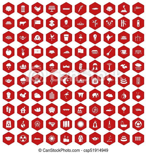 100 lotus icons hexagon red - csp51914949