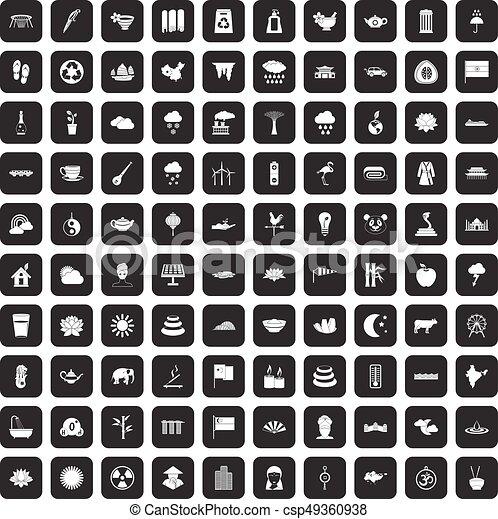 100 lotus icons set black - csp49360938
