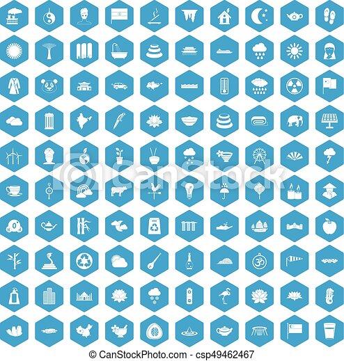 100 lotus icons set blue - csp49462467