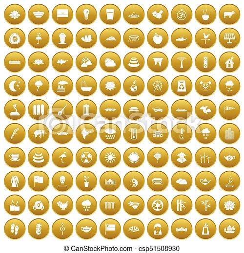 100 lotus icons set gold - csp51508930