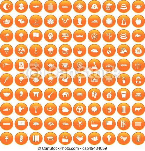 100 lotus icons set orange - csp49434059