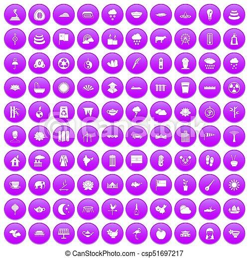 100 lotus icons set purple - csp51697217