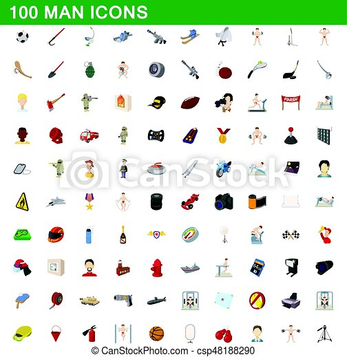 100 man icons set, cartoon style - csp48188290
