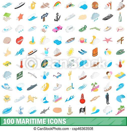 100 maritime icons set, isometric 3d style - csp46363508