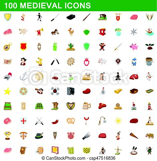 100 medieval icons set, cartoon style - csp47516836