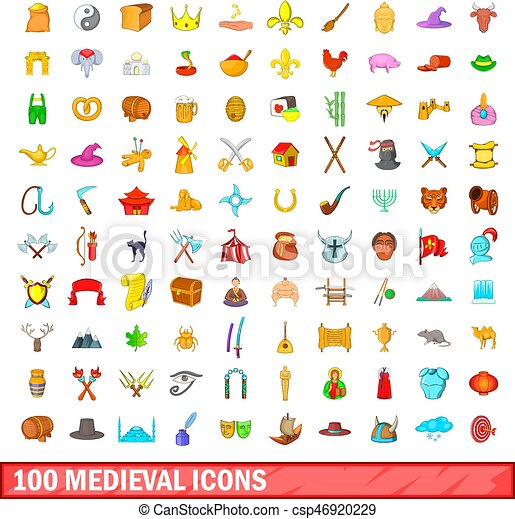100 medieval icons set, cartoon style - csp46920229