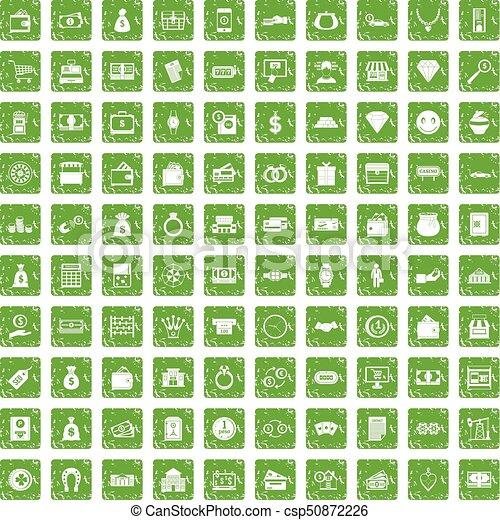 100 money icons set grunge green - csp50872226