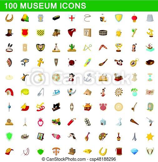 100 museum icons set, cartoon style - csp48188296