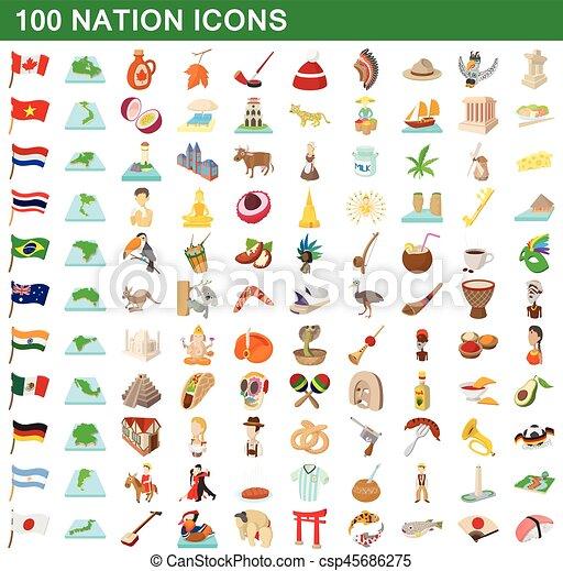 100 nation icons set, cartoon style - csp45686275