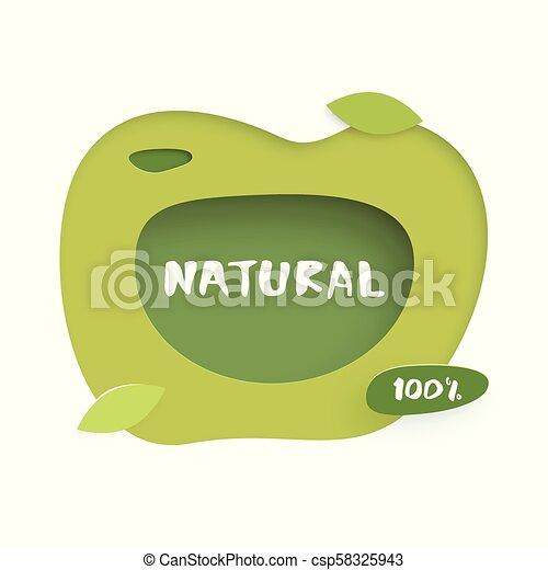 100% Natural paper cut banner. Vector illustration. - csp58325943