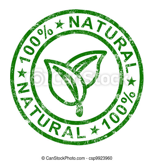 100% Natural Stamp Shows Pure And Genuine Products - csp9923960