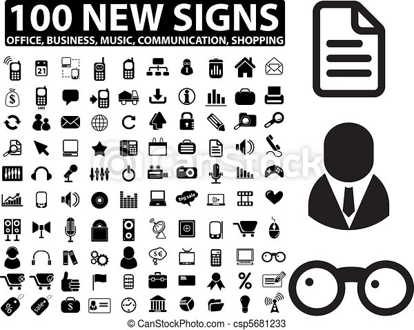 100 new office, business, media signs - csp5681233