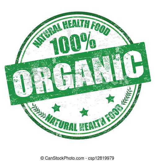 100% organic stamp - csp12819979