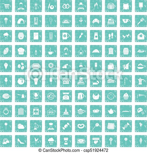 100 patisserie icons set grunge blue - csp51924472