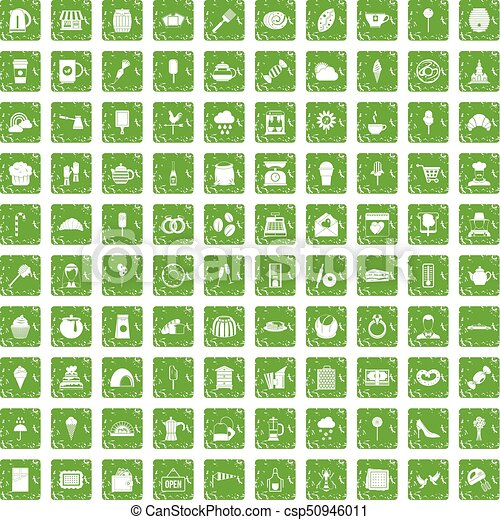 100 patisserie icons set grunge green - csp50946011