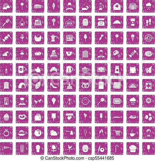 100 patisserie icons set grunge pink - csp55441685