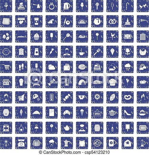 100 patisserie icons set grunge sapphire - csp54123210
