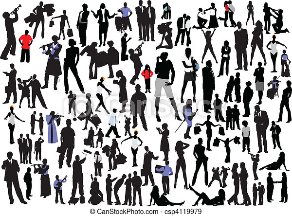 100 people silhouettes. Vector col - csp4119979