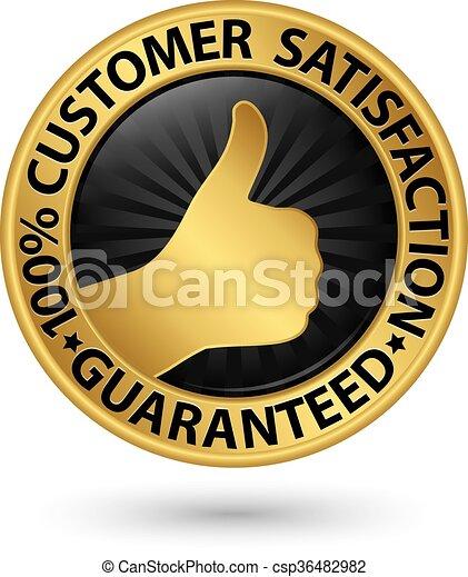 100 percent customer satisfaction guaranteed golden sign with ribbon, vector illustration - csp36482982