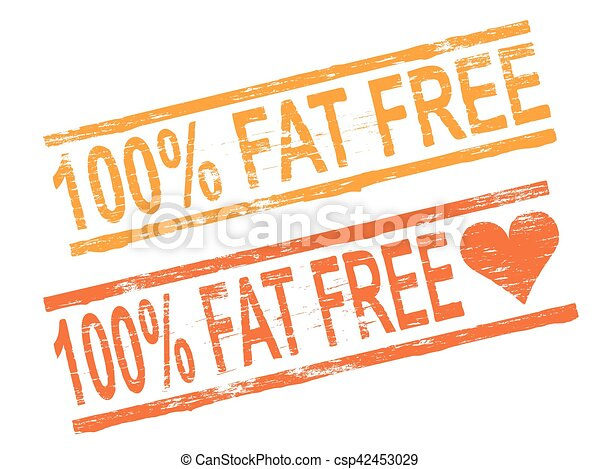 100 Percent Fat Free Stamp 100 Percent Free Grungy Rubber Stamp