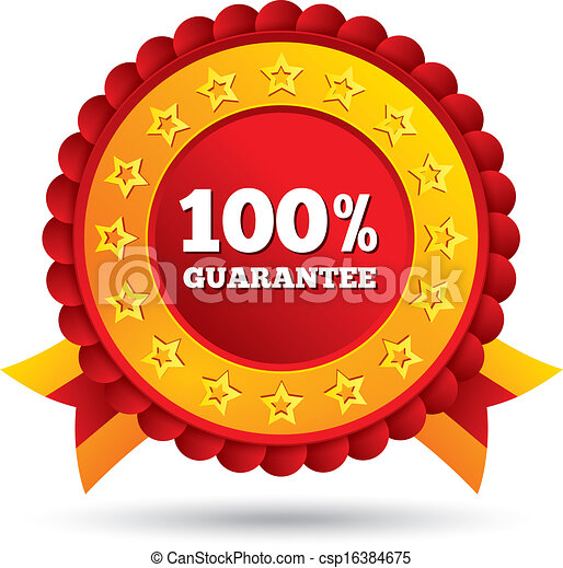 100 percent guaranteed red label with ribbons - csp16384675