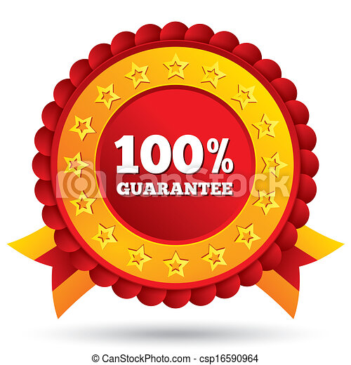 100 percent guaranteed red label with ribbons - csp16590964