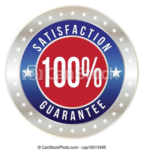 100 percent satisfaction guarantee badge, vector format - csp16013495