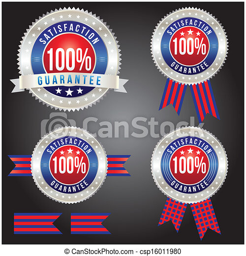 100 percent satisfaction guarantee badge, vector format - csp16011980