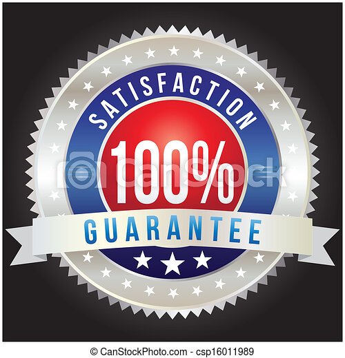 100 percent satisfaction guarantee badge, vector format - csp16011989