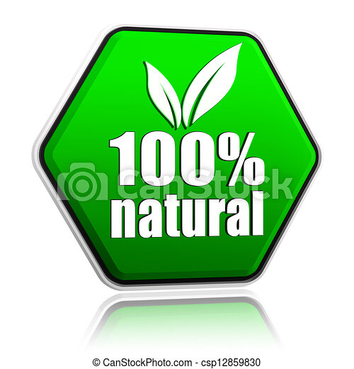 100 percentages natural with leaf sign in green button - csp12859830