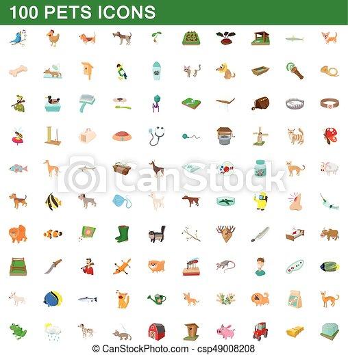 100 pets icons set, cartoon style - csp49008208