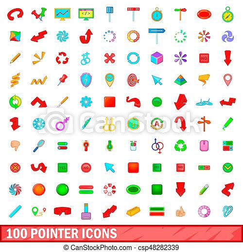 100 pointer icons set, cartoon style - csp48282339
