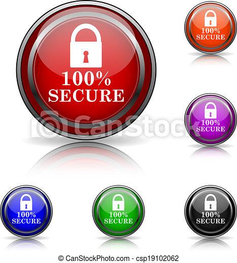 100% icono seguro - csp19102062