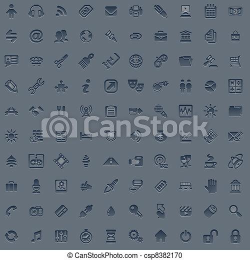 100 professional grey web icon set - csp8382170