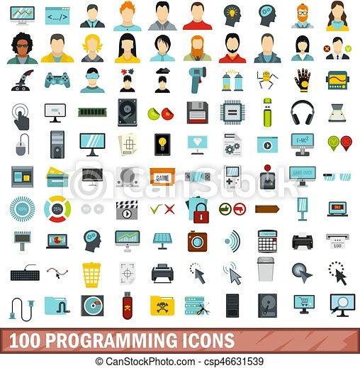 100 programming icons set, flat style - csp46631539